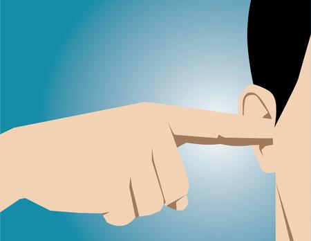 obedecer: Hombre obstruye los oídos con los dedos. vector plana