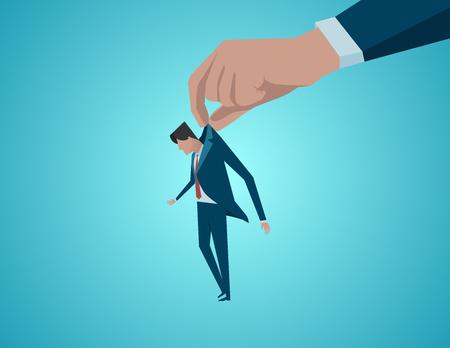 Concept of a failure of a businessman. Concept business illustration. Vector flat