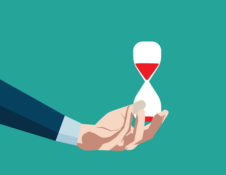 Hourglass in hand. Concept business illustration. Vector flat