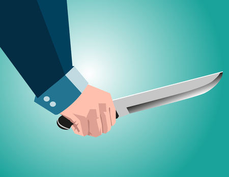Business man holding knife. Concept business illustration. Vector flat