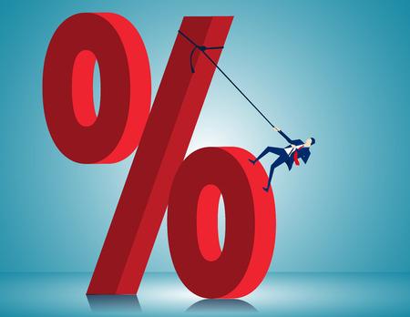 Man Scale Very Large Percentage Sign. Concept business illustration. Vector flat Illustration