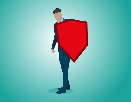 Man with red shield. Concept business illustration. Vector flat
