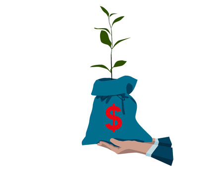 branch to grow up: Money Tree. Money Bag With Dollar in Human Hand