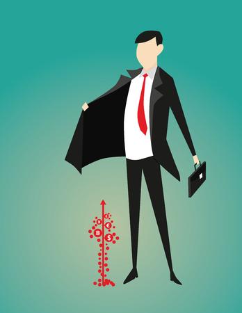 Businessman protection money growing. Concept business illustration. Vector flat