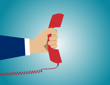 Red phone listen and talk. Concept business illustration. Vector flat