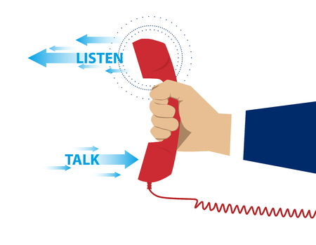 off the hook: Red phone listen and talk. Concept business illustration. Vector flat