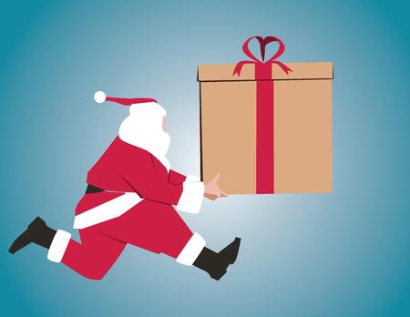 Santa Claus with big present. Concept Holidays & Events. Vector flat