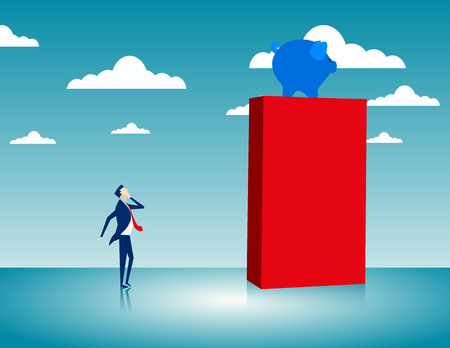 Businessman observing a piggy bank on a high cube. Concept business illustration. Vector flat