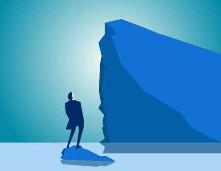 cliff edge: Adversity. Concept business illustration. Vector flat