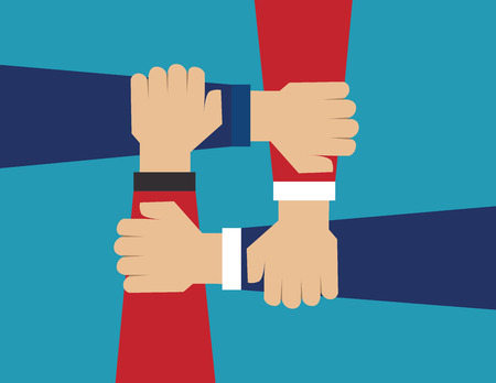 cooperate: Cooperate for successful work. Concept business illustration. Vector flat