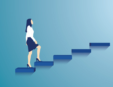 Business is making efforts at the stairs. Concept business illustration. Vector flat Illustration