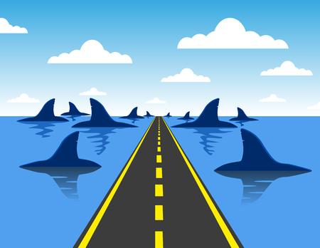 Dirigée par concept danger d'affaires sur une route droite vers un groupe de requins dangereux comme une métaphore et symbole de risque et le courage d'une personne sur un cheminement de carrière ou de parcours de vie