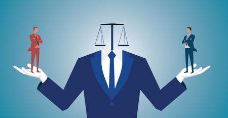 Uomo d'affari confuso tra l'essere buono o cattivo illustrazione attività .Concept. Vector piatta Archivio Fotografico - 68287365