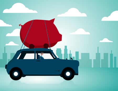 Businessman driving car with piggy bank on top. Concept business illustration. Vector flat