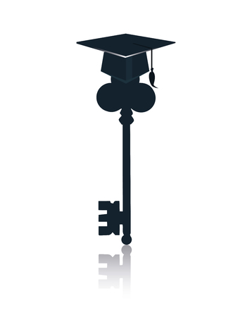potential: Education key symbol representing learning success or graduating student metaphor as a success training tool to open a lock . Vector flat