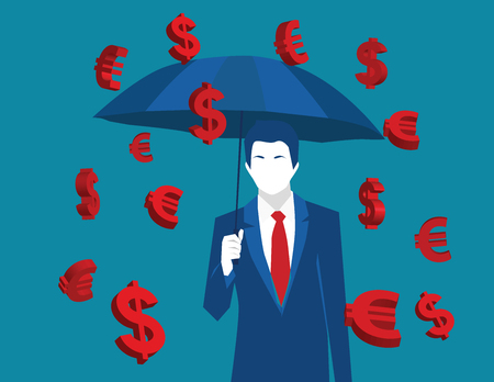 Business man with umbrella under euro and dollar signs rain. Business concept illustration. vector flat Illustration