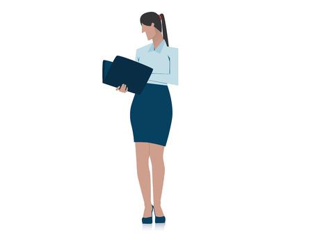 Businesswoman holding folder. Concept business illustration. Vector flat