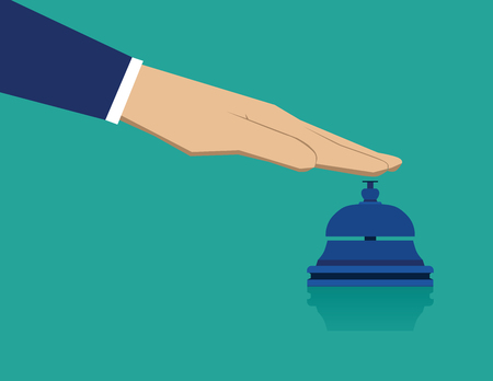 service bell: Hand pressing service bell. Business concept illustration. Vector flat