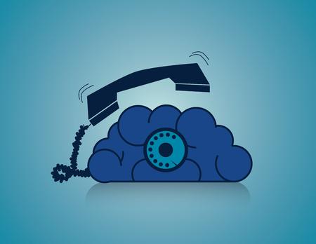 Calling Brain. Business concept illustration. Vector flat Illustration