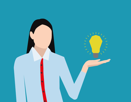 Women presents a light bulb as a concept of new idea in business. Vector flat Illustration