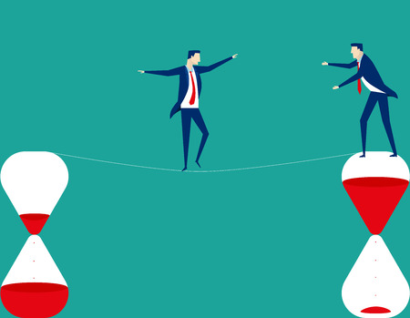 Man walking a tightrope. Concept business illustration. Vector flat Illustration