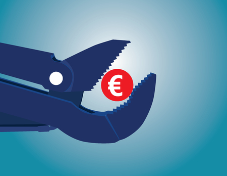 budget restrictions: Concept of euro zone with coin and pipe wrench. Concept business illustration. Vector flat Illustration