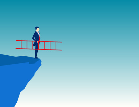 cliff edge: Businessman holding a ladder. Concept Business illustration. Vector flat