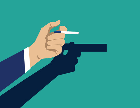 Smoking cigarette is self harm. Concept business illustration. Vector flat Illustration