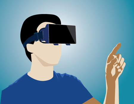 Virtual Reality headset on a man playing video games. Concept business illustration. Vector flat