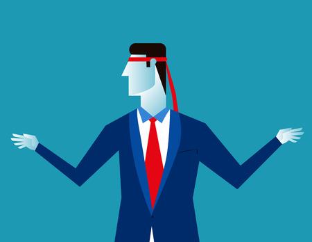 Blind businessman. Concept business illustration. Vector flat