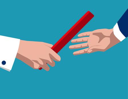 El hombre de negocios que pasa el bastón. ilustración concepto de negocio. vector plana Ilustración de vector