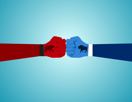 Two fist with bull and bear icon emblems. Concept business illustration. Vector flat Illustration