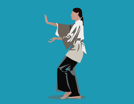 remote view: Woman performing Tai Chi. Concept illustration. Vector flat