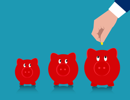 Hand putting coin into three hopeful piggy banks. Concept business illustration. Vector flat. Illustration
