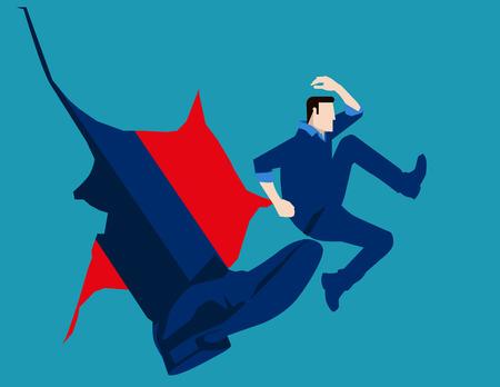 L'uomo colpito da calcio di grande piede. illustrazione Concetto di business. Vector piatta Vettoriali