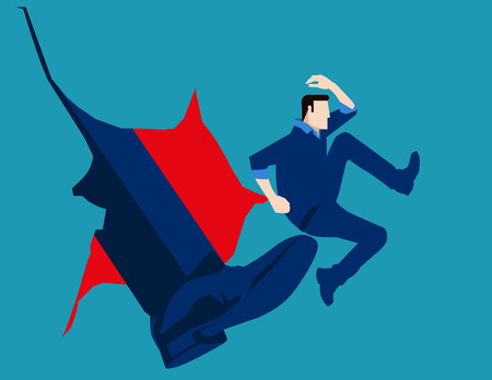 cruel: Man hit by kick of big foot. Concept business illustration. Vector flat