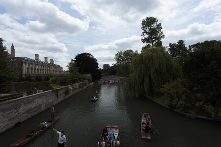 Punting on the canals of Cambridge, Cambridgeshire, England, United Kingdom 写真素材