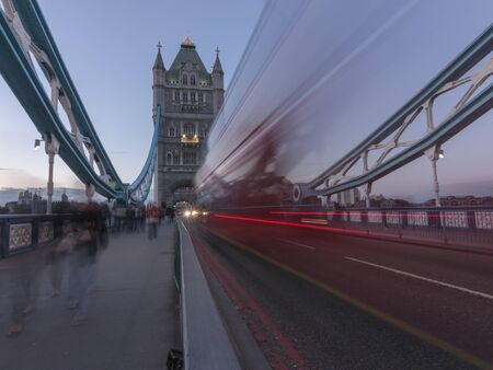 Traffic on Tower Bridge, London, England, United Kingdom