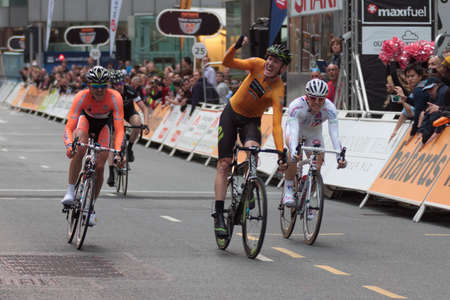 Australian Zak Dempster of Endura Racing wins the Halfords Tour Series Race at Canary Wharf, London, England