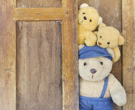 Cute teddy bears on old wood background with copy space.