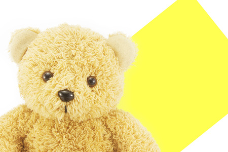 close up cute teddy bear on white and yellow background with copy space.