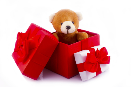 cute teddy bear in red gift box on white background with clipping path,too give someone important in valentine's day