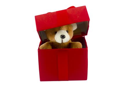 cute teddy bear in red gift box on transparent background with clipping path,too give someone important in valentine's day 免版税图像