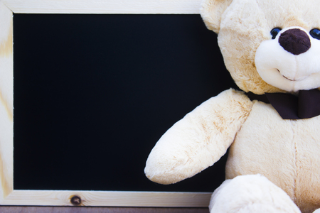 Close up teddy bear on blackboard with copy space for text.