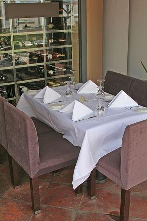 restuarant: A classy little restuarant and its outside table. Stock Photo
