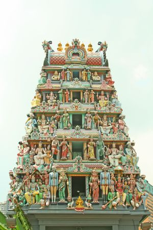 deities: Indian temple entrance with a collection of hindu gods and deities