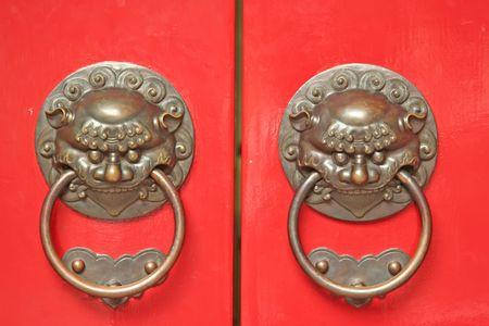 door way: Chinese Door way with Handles and Gargoyles