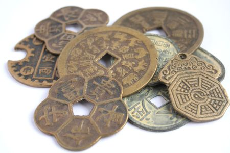 A variety of different chinese coins photo
