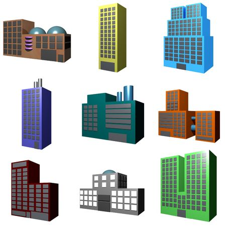 hotel building: A collection of building icons showing different architectures.
