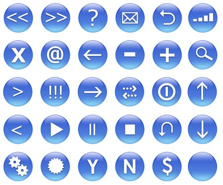 Icons for web actions in a shiny fun way. Inspired by web 2.0 buttons. Stock Photo - 2523214